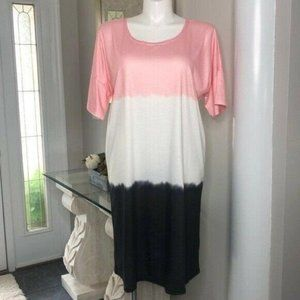 MISSLOOK Color Block Midi T-Shirt Dress, Size L